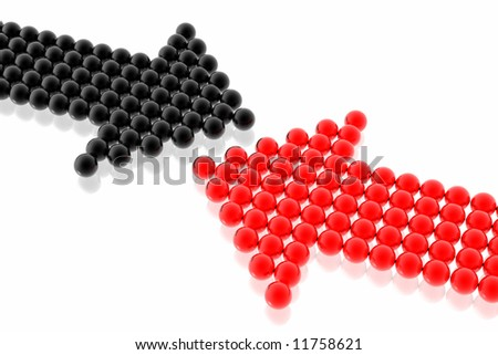 business strategy of red and black team isolated in white background