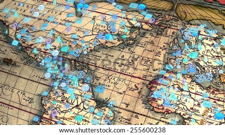 Business strategy planning concept old world stock illustration business strategy planning concept of old world map with finance and statistics related icons gumiabroncs Gallery