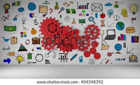 Business strategy planning on wall with red gears and many icons (3D Rendering)