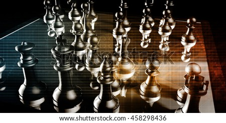 Business Strategy with a Chess Board Concept 3D Illustration Render - stock photo