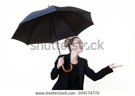 business style person with a umbrella up getting ready for bad weather