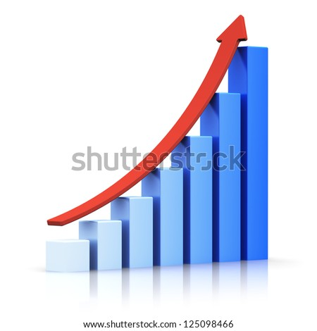 Business success and financial growth and development concept: blue growing bar chart with red rising arrow isolated on white background with reflection effect - stock photo