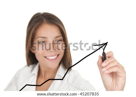 Business success and growth concept. Graph / chart drawing by young beautiful businesswoman with pen writing on screen. Focus on the black marker. Mixed asian / caucasian model on white background. - stock photo