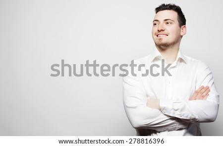business, success and people concept - young business man wearing white shirt, isolated on white. - stock photo
