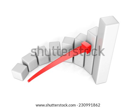 business success bar chart with arrow on white background. 3d render illustration - stock photo