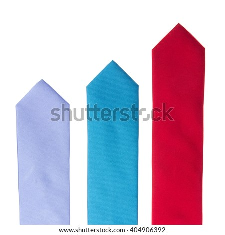 Business success concept - 3 colorfull neckties like a diagram