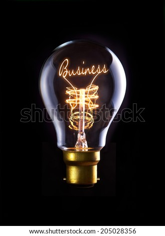Business Success concept in a filament lightbulb. - stock photo
