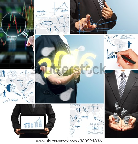 Business success concept new year 2016, Creative writing increased revenue graph with process of vision analysis and planning, consulting, team work, project management, brainstorming - stock photo