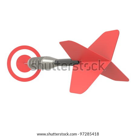 Business Success Concept. Red Dart Arrow, isolated on white. - stock photo