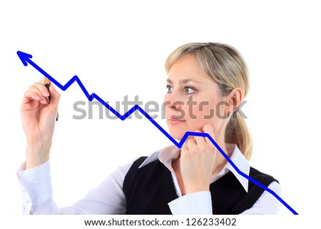 Business success growth chart. Business woman drawing graph showing profit growth on virtual screen.  businesswoman isolated on white background in suit. - stock photo