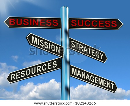 Business Success Signpost Shows Mission Strategy Resources And Management