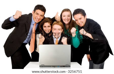 Business success team in an office in front of a laptop computer over a white background - stock photo