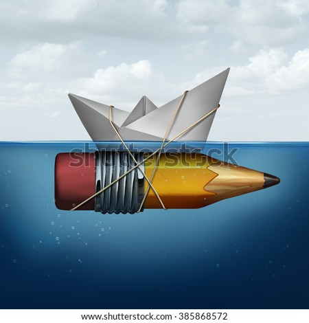 Business success tools as a paper boat in the ocean being elevated and supported by an attached pencil as a strategy planning success metaphor for finding innovative ideas to succeed.. - stock photo