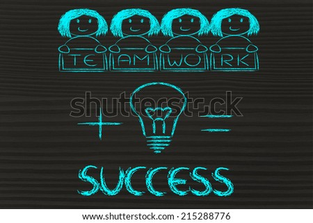 business success: winning ideas and teamwork (girl version) - stock photo