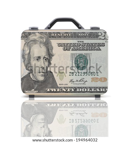 Business suitcase for travel with reflection and 20 dollars note - clipping path - stock photo