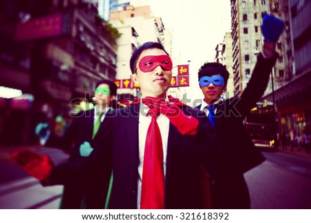Business Superheroes in Hong Kong Concept - stock photo