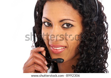 business support woman smiling isolated over a white background - stock photo