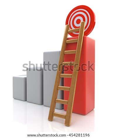 Business target concept , 3d business graph with wood ladder to the red target isolated over white background in the design of information related to successes. 3d illustration - stock photo