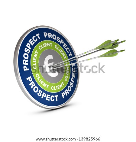 Business target with the words lead, client and euro symbol, three arrows hitting the center of the dart 3D render over white - stock photo