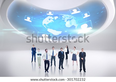 Business team against futuristic technology interface - stock photo