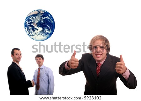 business team agreement (protect the earth) - stock photo