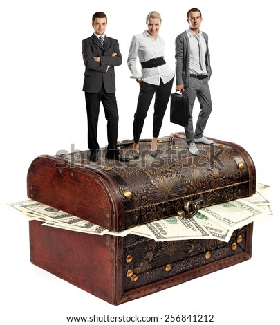 Business team and USA dollars in box, isolated on white background - stock photo