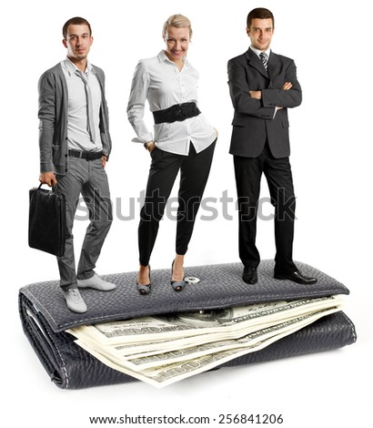 Business team and USA dollars in wallet, isolated on white background - stock photo