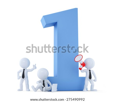 Business team around a big number One. Business concept. Isolated over white. Contains clipping path - stock photo