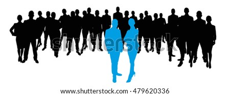 Business team as Silhouette with team leaders in the front