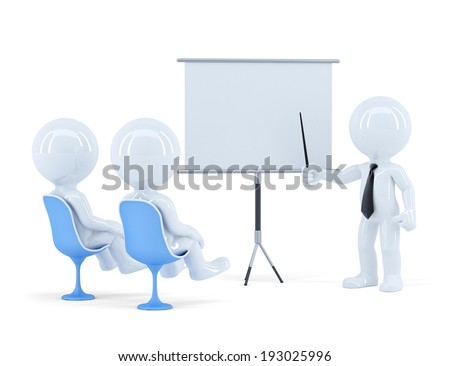 Business team at presentation. Isolated. Contains clipping path of scene and presentation board. 3d Illustration - stock photo