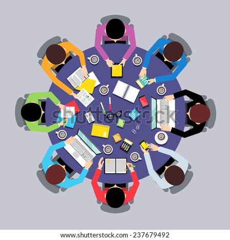 Business team brainstorming teamwork concept top view group people on round table  illustration - stock photo
