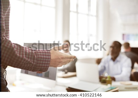 Business Team Busy Working Workplace Office Concept - stock photo