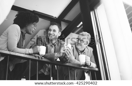Business Team Coffee Break Discussion Talking Concept - stock photo