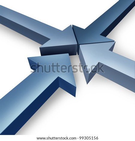 Business team coming together or partnership joining the team with four dimensional arrows coming together to form a unified organization based on cooperation and trust on a white background. - stock photo