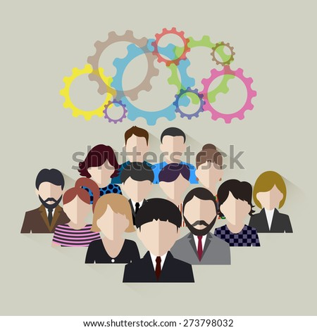 business team concept of development of technological community - stock photo