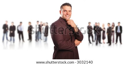 business team concept with a leader posing against white background - stock photo