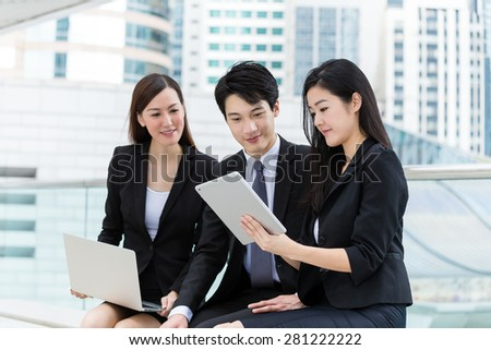 Business team discuss about the project together - stock photo