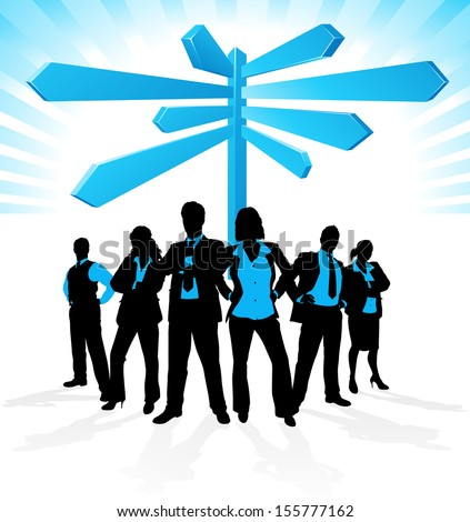 Business Team find Direction. Illustration of a group of Male and Female Business People in a Dynamic Pose depicted as silhouettes standing in front of a career signpost. - stock photo