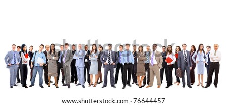 business team formed of young businessmen and businesswomen standing over a white background