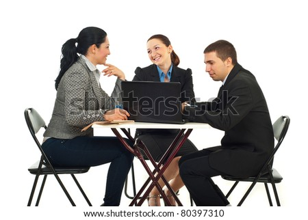 Business team having conversation or searching on laptop in a coffee shop and sitting on chairs at table isolated on white background