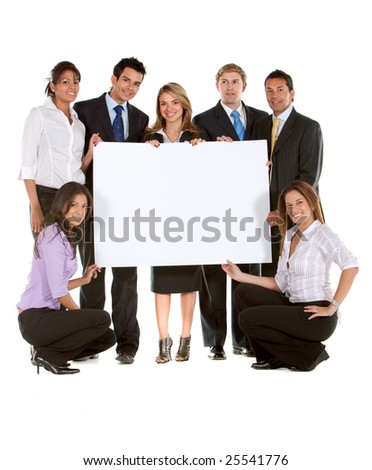 Business team holding a banner ad isolated on white - stock photo