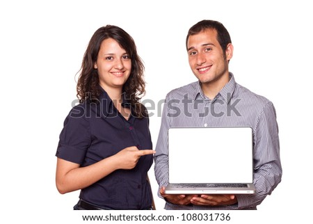 Business Team Holding a Computer with Blank Screen