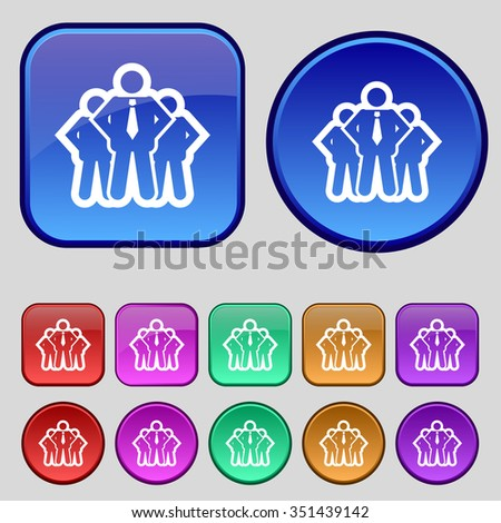 business team icon sign. A set of twelve vintage buttons for your design. illustration - stock photo