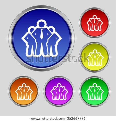 business team icon sign. Round symbol on bright colourful buttons. illustration - stock photo