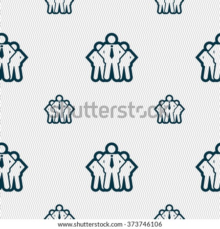 business team icon sign. Seamless pattern with geometric texture. illustration - stock photo