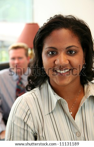 Business Team in an office ready for the work day - stock photo