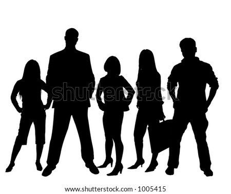 Business team in black and white silhouette - stock photo