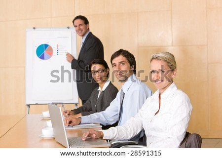 business team in boardroom - stock photo