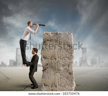 Business team look far for new business - stock photo
