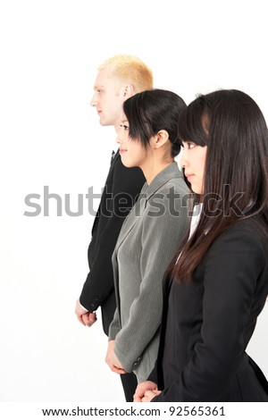 business team looking,lining, isolated on white background - stock photo